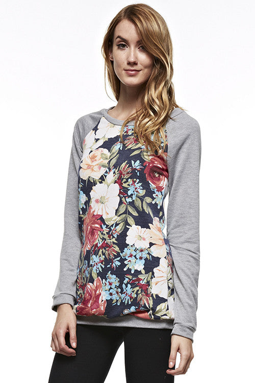 Made in USA Grey Floral Raglan Sweater Front