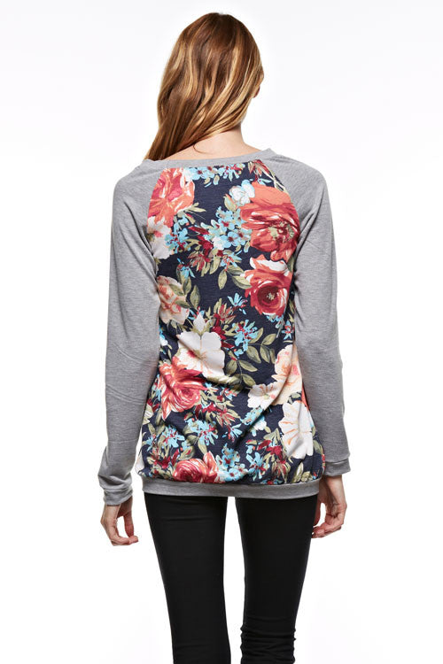 Made in USA Grey Floral Raglan Sweater Back
