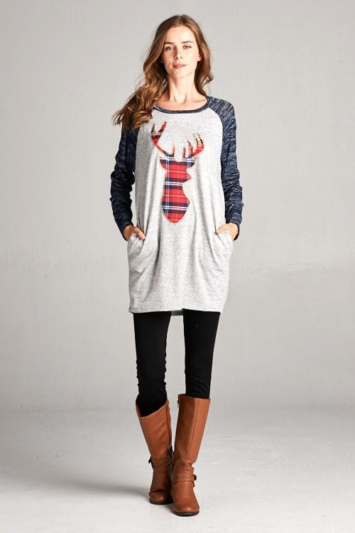 American Made Women's Plaid Deer Raglan Tunic in Navy Front