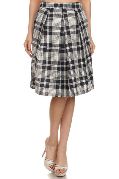 American Made Womens Navy Plaid Tea Length Skirt Front