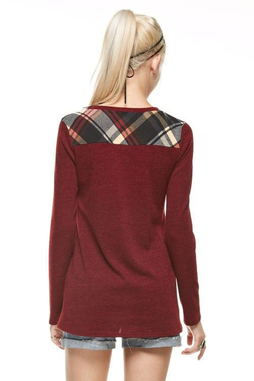 American Made Women's Red Plaid Top Back