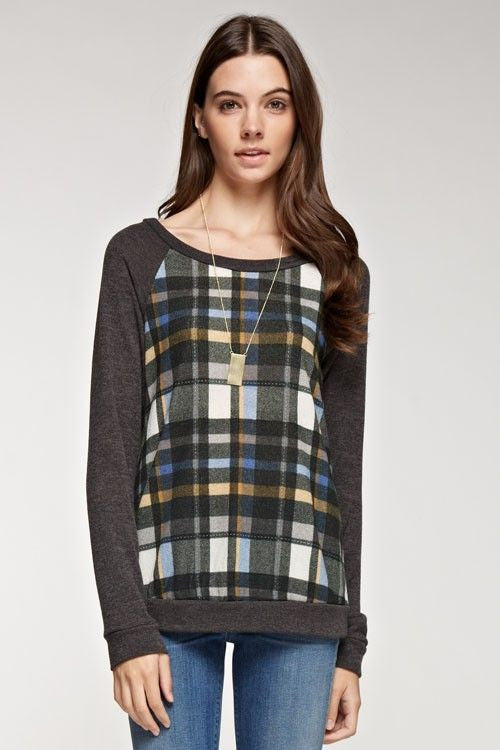 American Made Women's Grey Plaid Sweatshirt Closeup