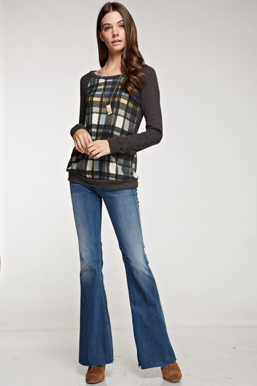 American Made Women's Grey Plaid Sweatshirt Front