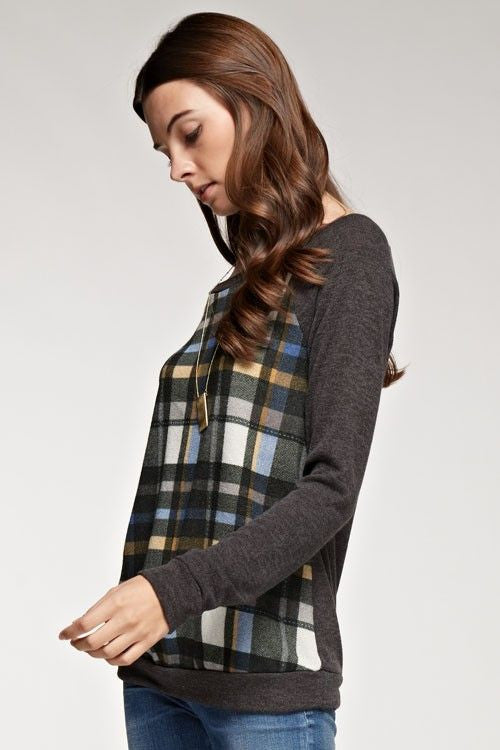 American Made Women's Grey Plaid Sweatshirt Side