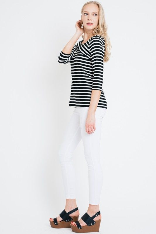American Made Women's Black and White Striped Crossover Top Side