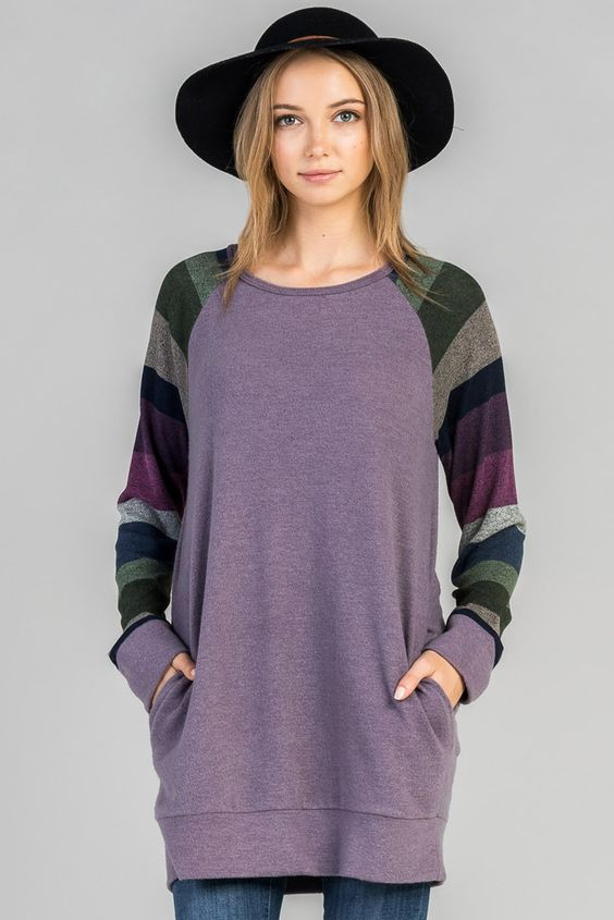 American Made Women's Purple Raglan Sweater with Striped Sleeves