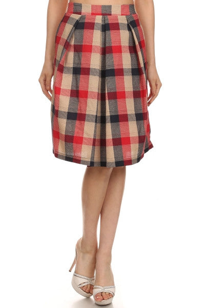 American Made Women's Red & Tan Plaid Tea Length Skirt from Le Lis Front