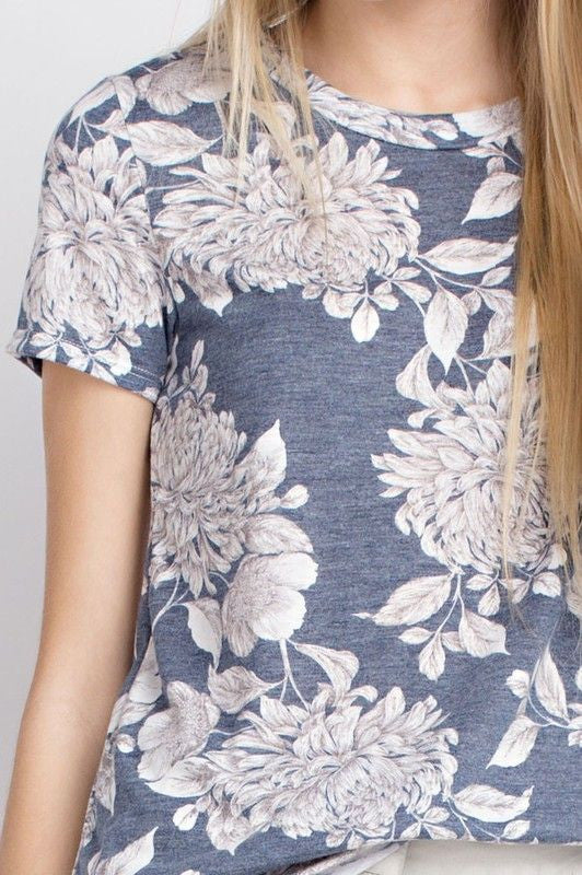 American Made Women's Navy Retro Floral Print Tee Closeup