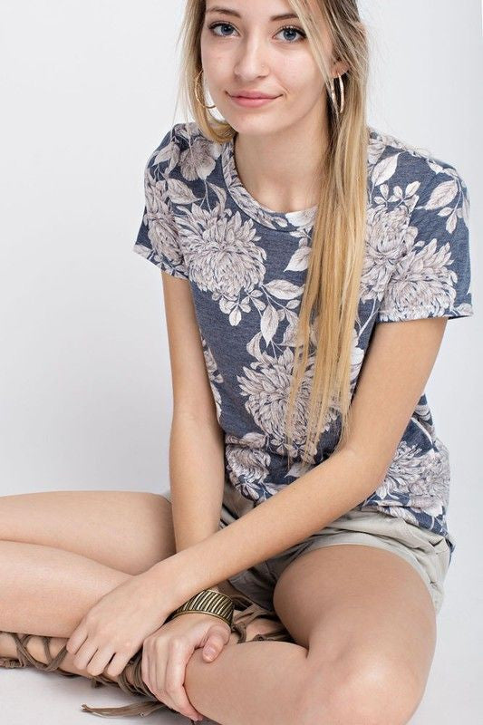American Made Women's Navy Retro Floral Print Tee Alt View