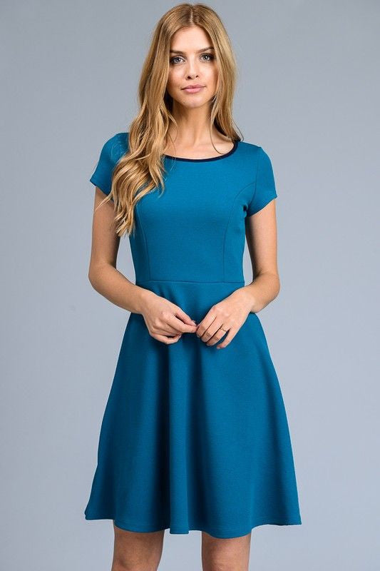 American Made Women's Teal Blue A-Line Short Sleeve Dress Front