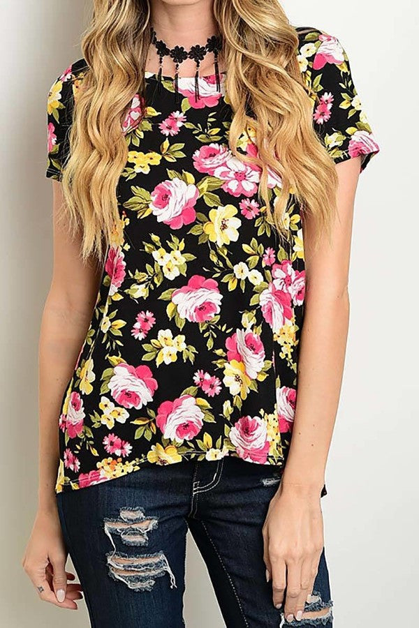 American Made Women's Black Floral Top Front View