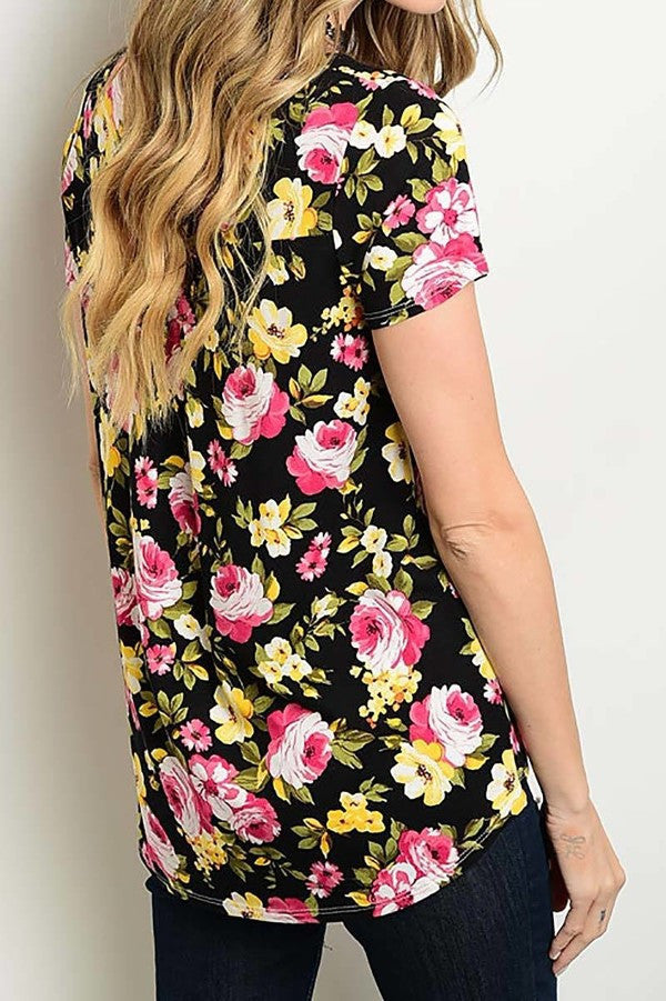 American Made Women's Black Floral Top Back View