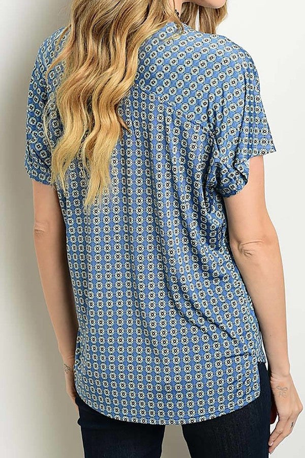 American Made Women's Tile Print Top in Blue Back View