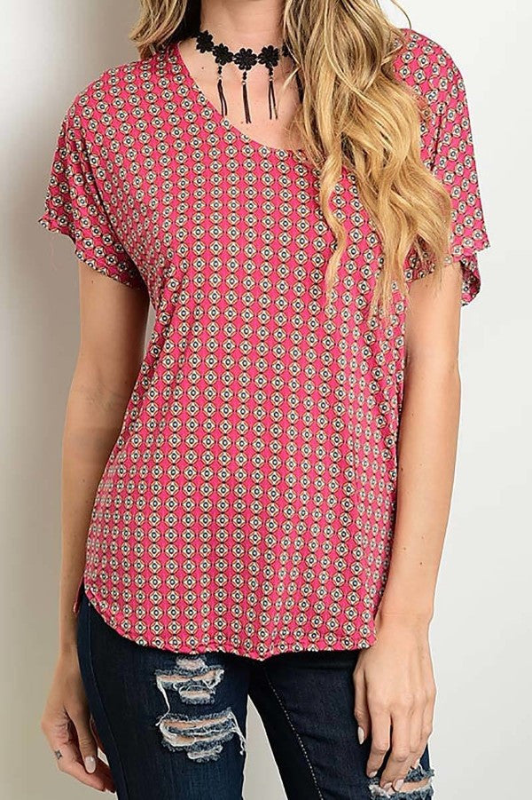 merican Made Women's Tile Print Top in Pink Front View