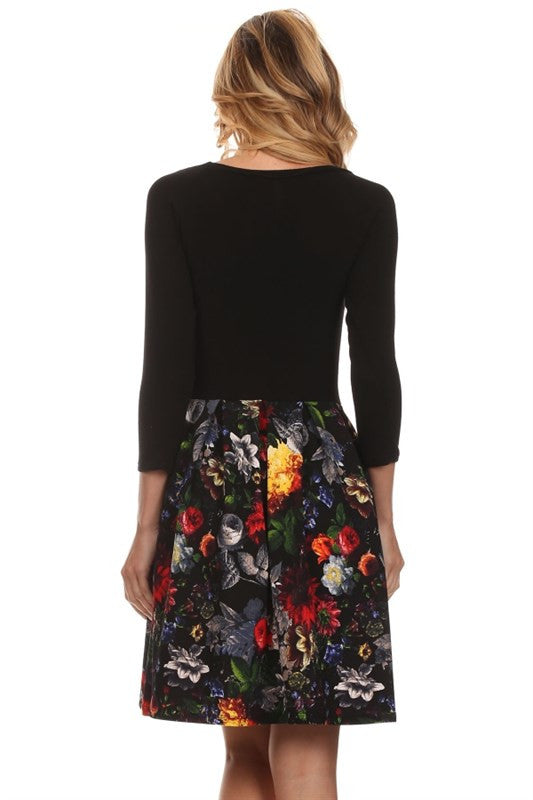 Made in the USA 3/4 Sleeve Dress with Floral Skirt from Gilli Back
