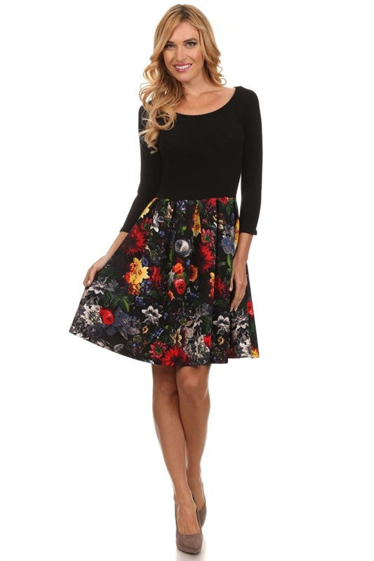 Made in the USA 3/4 Sleeve Dress with Floral Skirt from Gilli Front