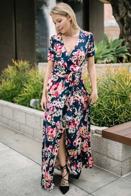American Made Women's Floral Wrap Maxi Dress