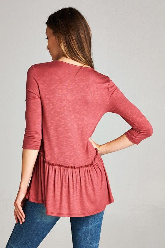 American Made Women's Red Ruffle Top Back
