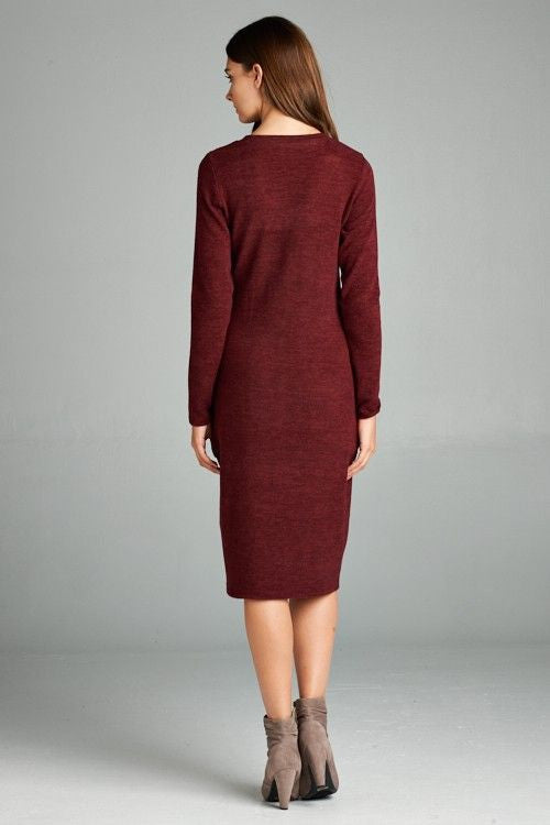 American Made Women's Red V-Neck Midi Sweater Dress Back