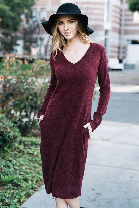 American Made Women's Red V-Neck Midi Sweater Dress Front