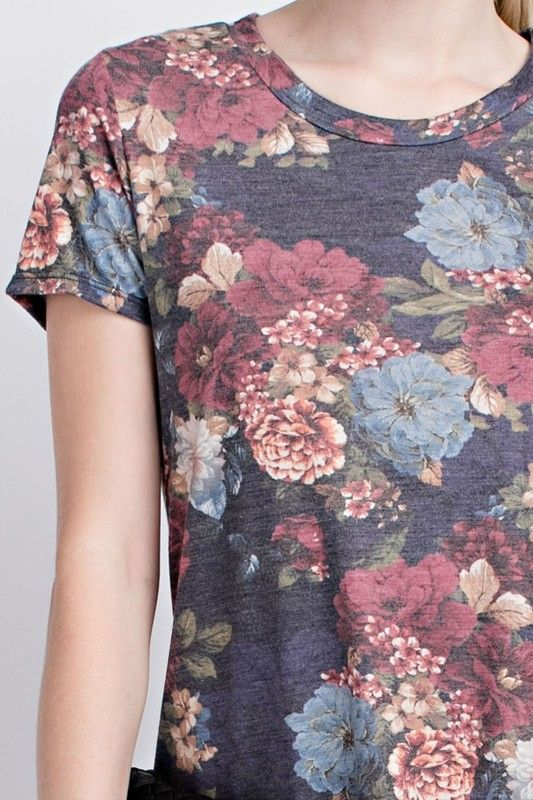 American Made Women's Rich Floral Top Closeup