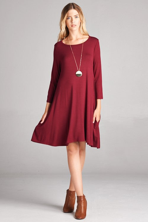 American Made Women's Red Swing Dress with Pockets