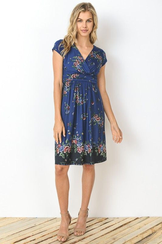American Made Women's Rose Floral Print A-Line Dress