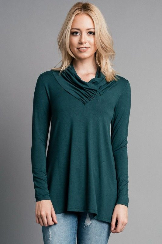 American Made Women's Teal Ruched Neck Top