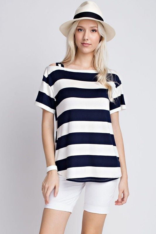 American Made Women's Navy Striped Cold Shoulder Top