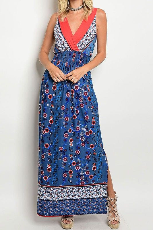 American Made Women's Blue Boho Floral Maxi Dress Front