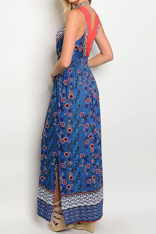 American Made Women's Blue Boho Floral Maxi Dress Back