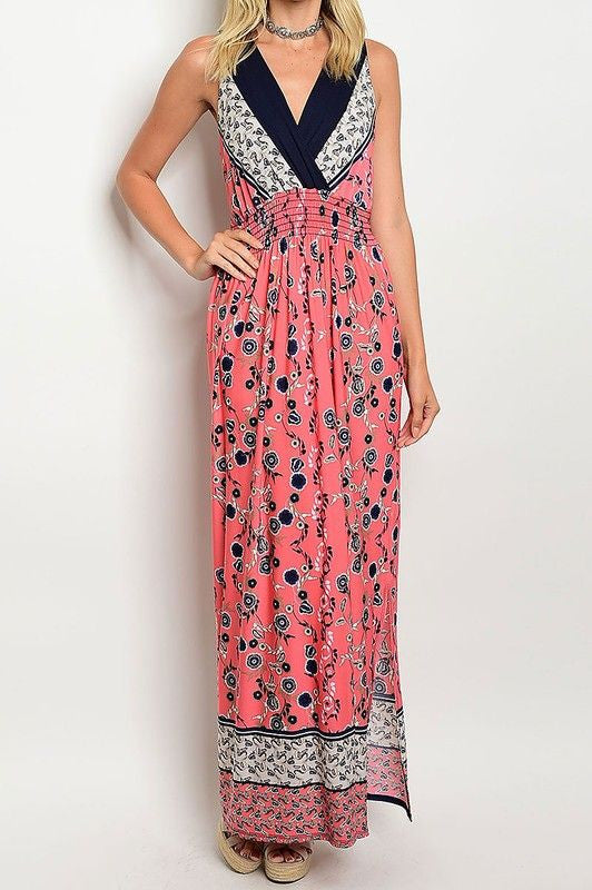 American Made Women's Pink Boho Floral Maxi Dress Front