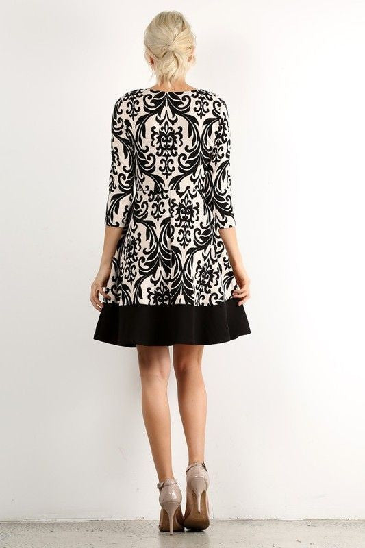 American Made Women's Black and White Damask Print A-Line Dress Back