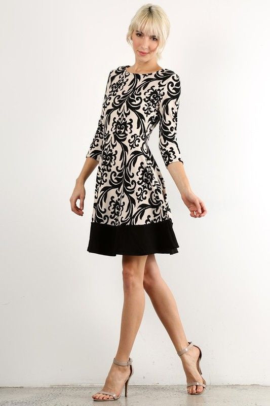 American Made Women's Black and White Damask Print A-Line Dress Alt Side View
