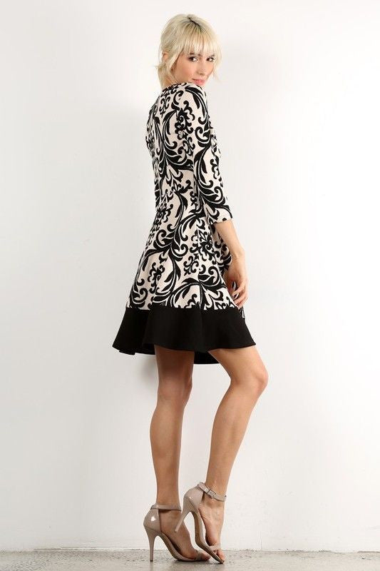 American Made Women's Black and White Damask Print A-Line Dress Side
