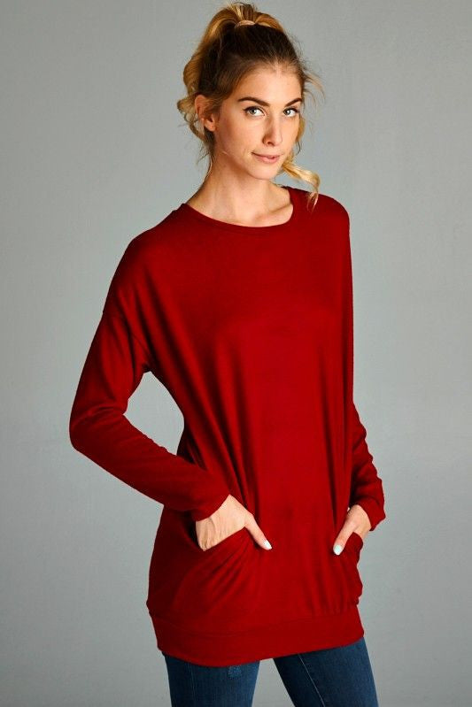 American Made Women's Red Super Soft Tunic with Pockets