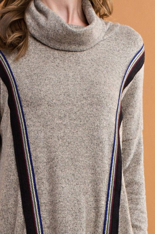 American Made Women's Grey Handkerchief Hem Tribal Trim Sweater Closeup