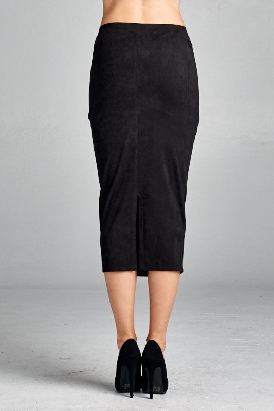 American Made Women's Black Faux Suede Pencil Skirt Black