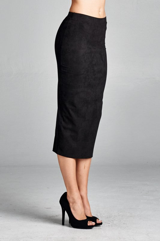 American Made Women's Black Faux Suede Pencil Skirt Side