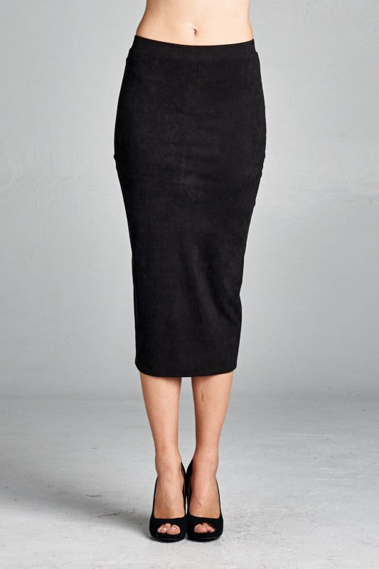American Made Women's Black Faux Suede Pencil Skirt Front