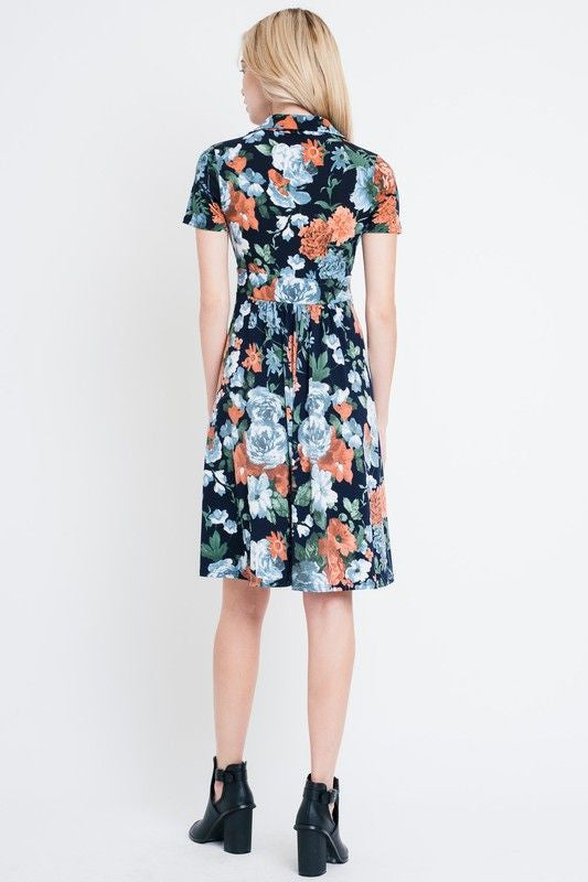 American Made Women's Navy Floral Faux Wrap Dress Back