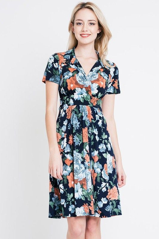 American Made Women's Navy Floral Faux Wrap Dress Front