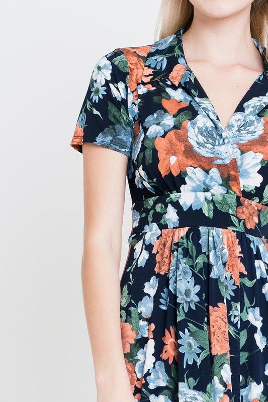 American Made Women's Navy Floral Faux Wrap Dress Closeup