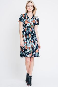 American Made Women's Navy Floral Faux Wrap Dress Alt Front View
