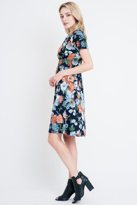 American Made Women's Navy Floral Faux Wrap Dress Side
