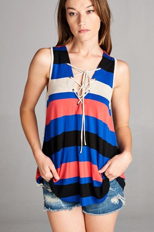 American Made Women's Striped Lace Up V-neck Tank Top Front