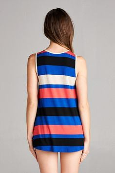 American Made Women's Striped Lace Up V-neck Tank Top Back