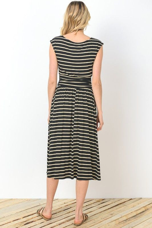 American Made Womens Black Striped Midi Dress Back