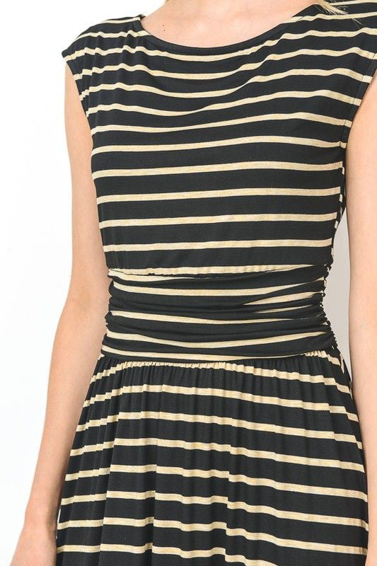 American Made Womens Black Striped Midi Dress Closeup