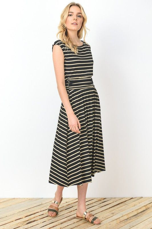 American Made Womens Black Striped Midi Dress Side